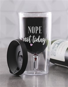 gifts: Personalised Not Today Travel Wine Glass!