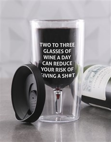 gifts: Personalised Reduce Your Risk Travel Wine Glass!