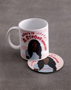 gifts: Personalised Strong Woman Mug And Coaster Set!