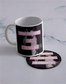 gifts: Personalised Future Is Female Mug And Coaster Set!
