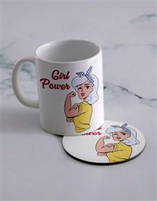 gifts: Personalised Girl Power Mug And Coaster Set!