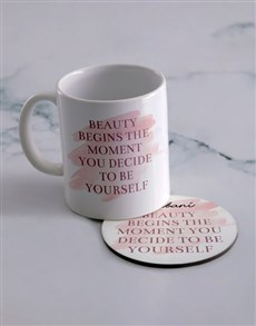gifts: Personalised Be Yourself Mug And Coaster Set!