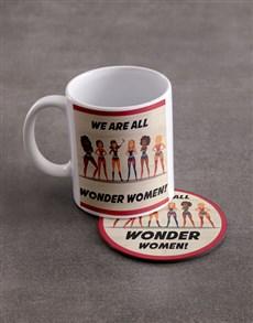 gifts: Personalised Wonder Women Mug And Coaster Set!