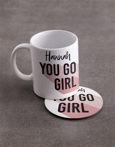 Personalised You Go Girl Mug And Coaster Set