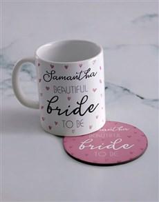gifts: Personalised Bride Mug And Coaster Set!