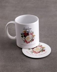 gifts: Personalised Bridesmaid Mug And Coaster Set!