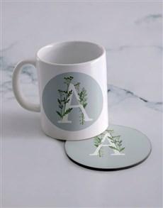 gifts: Personalised Floral Monogram Mug And Coaster Set!
