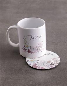 gifts: Personalised Floral Elegance Mug And Coaster Set!