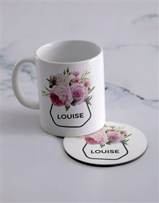 gifts: Personalised Pink Flower Mug And Coaster Set!