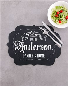 gifts: Personalised Our Home Chalk Board Placemat!