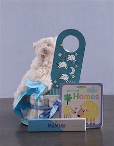 Picture of Personalised Lamb Baby and Mommy Nappy Cake Blue!