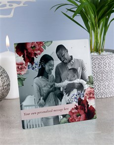 gifts: Personalised Floral Glass Tile !