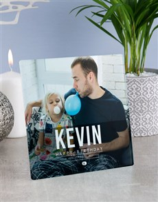 gifts: Personalised Happy Birthday Glass Tile !