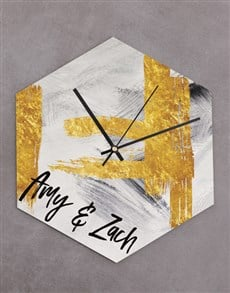 gifts: Personalised Charcoal and Gold Hexagon Clock!