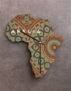 gifts: Personalised Name Africa Wooden MDF Clock!