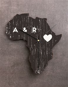 gifts: Personalised Heart of Africa Wooden MDF Clock!