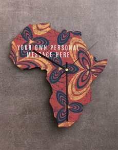 gifts: Personalised Own Message Africa MDF Clock!