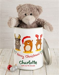 gifts: Personalised Christmas Characters Teddy Tin!
