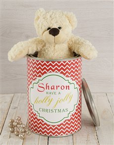 gifts: Personalised Holly Jolly Teddy Tin!