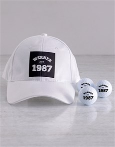 gifts: Personalised Established Golf Balls and Cap!