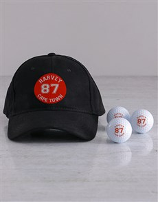 gifts: Personalised Retro Badge Golf Balls and Cap!