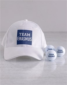 gifts: Personalised Team Golf Balls and Cap!