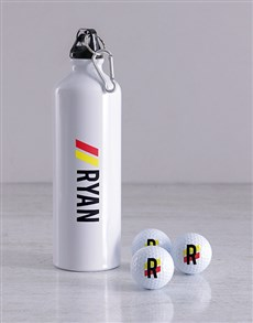 gifts: Personalised Stripe Golf Balls and Waterbottle!
