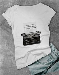 gifts: Personalised Typewriter Ladies T Shirt!