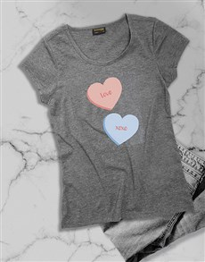 gifts: Personalised Message Heart Candy Ladies T Shirt!