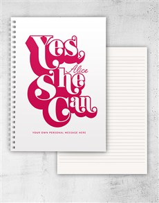 gifts: Personalised Yes She Can Ring Bound Notebook!