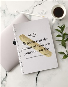 gifts: Personalised Be Fearless Ring Bound Notebook!