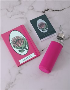 gifts: Personalised Pink Protea Go Stationery Set!