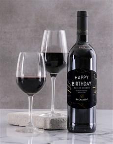 gifts: Personalised Black Marble Backsberg Wine!