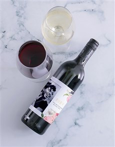 gifts: Personalised Pink Peony Photo Wine!