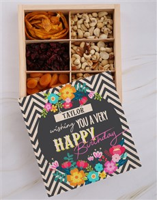 gifts: Personalised Birthday Floral Snack Crate!