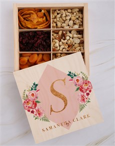 gifts: Personalised Initial Floral Snack Crate!