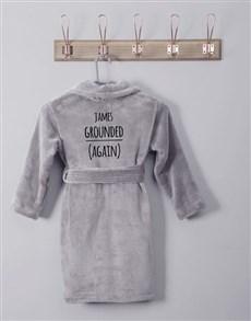 gifts: Personalised Own Words Grey Fleece Kids Gown!
