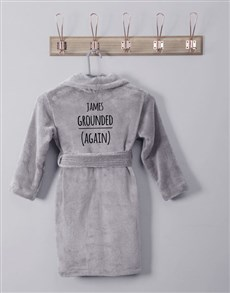 gifts: Personalised Message Grey Fleece Kids Gown!