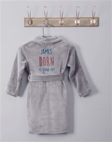gifts: Personalised Born To Grey Fleece Kids Gown!