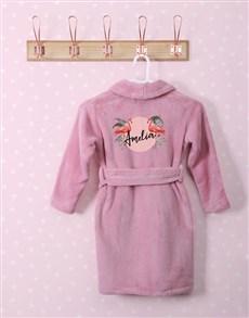 gifts: Personalised Flamingo Pink Fleece Kids Gown!