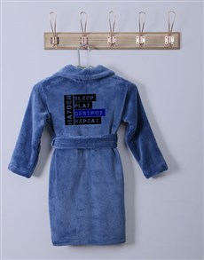 gifts: Personalised Friendly Warning Blue Fleece Gown!