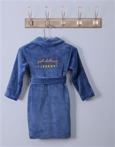gifts: Personalised No Worries Blue Fleece Kids Gown!