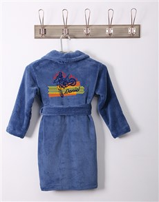 gifts: Personalised Blazing Wheels Blue Fleece Kids Gown!