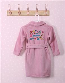gifts: Personalised Girl Stuff Pink Fleece Kids Gown!