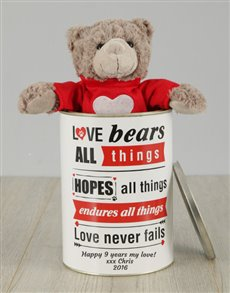 gifts: Personalised Valentines Love Bears All Things Tin!