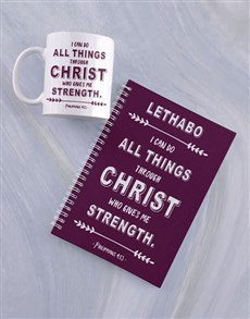 gifts: Personalised Strength in Christ Mug And Notebook!