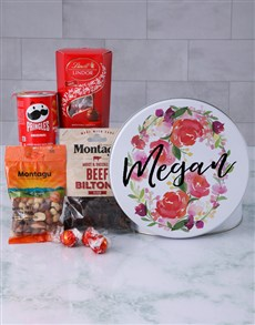 gifts: Personalised Floral Wreath Gourmet Tin!