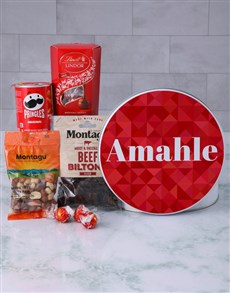 gifts: Personalised Red Geometric Gourmet Tin!