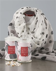 gifts: Spot Scarf With Red Floral Bath Set!