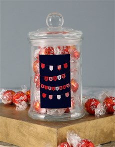 gifts: Red Birthday Banner Lindt Candy Jar!